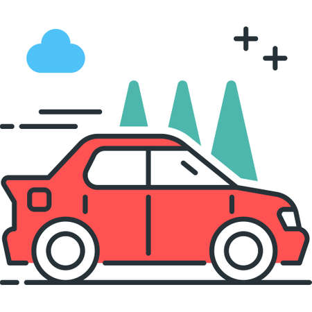 Outline icon of a moving car vector illustration