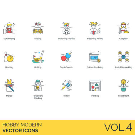 Hobby icons including kart racing, watching movie, anime, cosplay, bowling, golf, table tennis, online gambling, social networking, magic, tarot card reading, tattoo, thrifting, investment. Stockfoto - 109859872