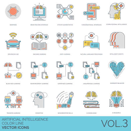 Artificial intelligence icons including graphene, brain machine, eyetap augmentation, conversational interface, computational, driverless car, deep learning, natural language processing, intelligent agents, black box, reinforcement, supervised, unsupervised, emergent behavior, transfer, cognition, sensorimotor skills, ai knowledge, research.