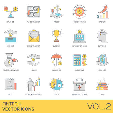 Fintech icons including balance, funds transfer, profit, money making, growth, deposit, internet banking, education savings, income, insurance, budgeting, home loan, bills, retirement, assets, gold.