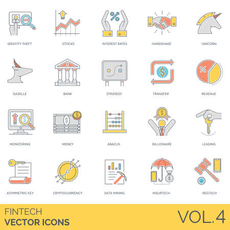 Fintech icons including identity theft, stocks, interest rates, handshake, unicorn, gazelle, bank, strategy, transfer, revenue, monitoring, money, abacus, billionaire, leasing, asymmetric keys, cryptocurrency, data mining, insurtech, regtech. Illustration