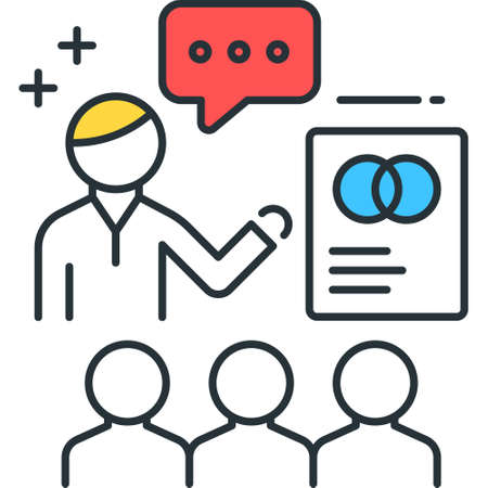 Line vector icon illustration of people doing presentation to audience