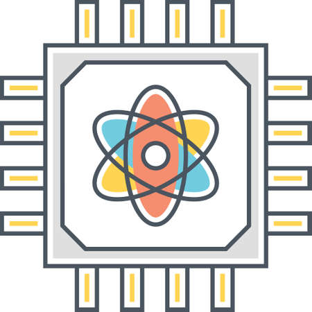 Icône de contour du processeur avec symbole de l'atome, illustration du concept d'informatique quantique