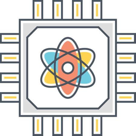 Outline icon of processor with atom symbol, quantum computing concept illustration 向量圖像