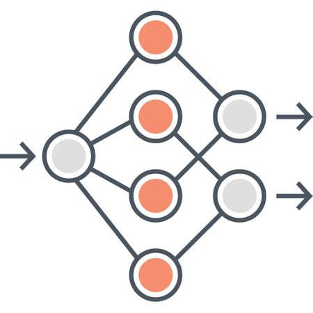 Outline vector icon of artificial neural network illustration Vektoros illusztráció