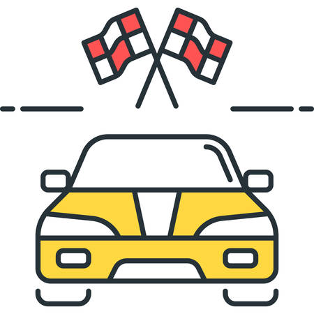 Line vector icon of racing car and two checkered flags illustration
