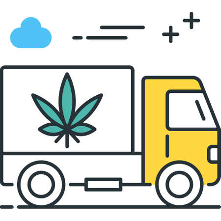 Outline vector icon illustration of truck shipping marijuana