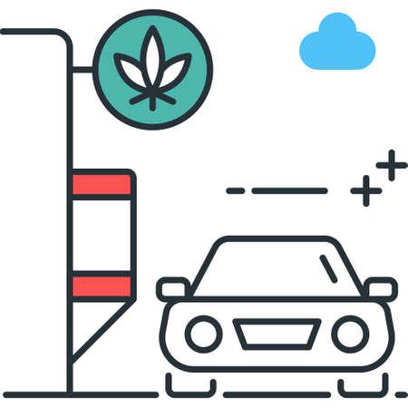 Line vector icon illustration of a car at marijuana drive through lane Illustration