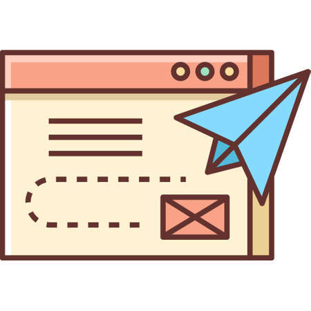 Line vector icon illustration of paper plane flying out of browser window, content delivery concept