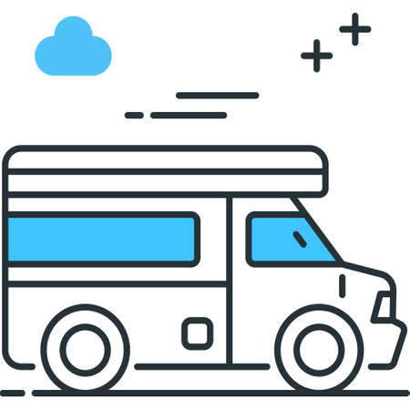 Outline icon of a campervan vector illustration