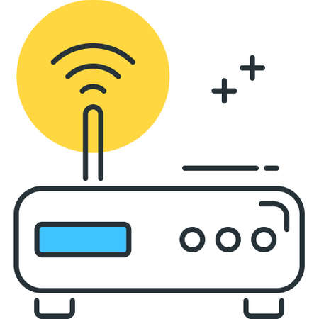 Vector outline icon illustration of wireless modem