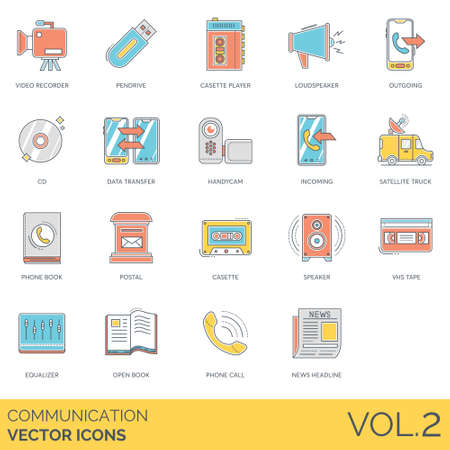 Communication icons including video recorder, pendrive, cassette player, loudspeaker, outgoing, cd, data transfer, handycam, incoming, satellite truck, phone, postal, speaker, tape, equalizer, open book, call, news headline.