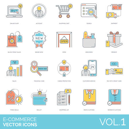 E-commerce icons including online shop, account, cart, search, shipment, black friday sales, brand new, open, groceries, present, tracking code, cargo protection, customer service, pay with credit card, timed deals, wallet, list, men, women clothing. Иллюстрация