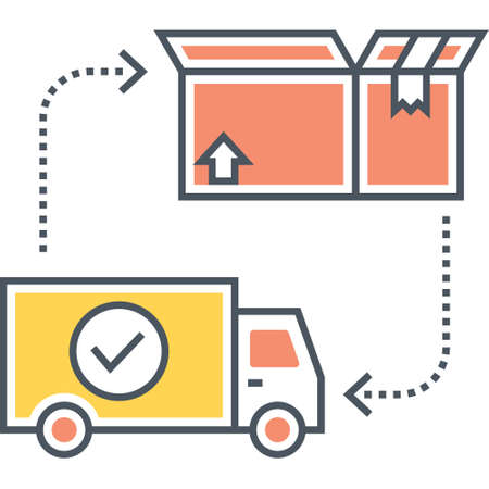 Vector flat icon of truck and opened box, shipment logistics concept illustration Иллюстрация