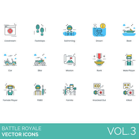Battle royale icons including livestream, footsteps, swimming, drown, boat, car, bike, mission, rank, male, female, player, pubg, fortnite, knocked out, killed. Иллюстрация