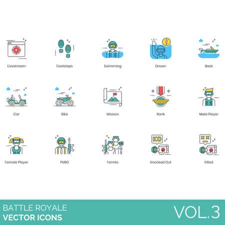 Battle Royale-Symbole wie Livestream, Schritte, Schwimmen, Ertrinken, Boot, Auto, Fahrrad, Mission, Rang, männlich, weiblich, Spieler, Pubg, Fortnite, KO, getötet.