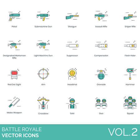 Battle royale icons including pistol, submachine, shotgun, assault rifle, sniper, designated marksman, light machine gun, suppressor, compensator, flash hider, red dot sight, aim, headshot, grenade, hammer, melee weapon, crossbow, solo, duo, squad.