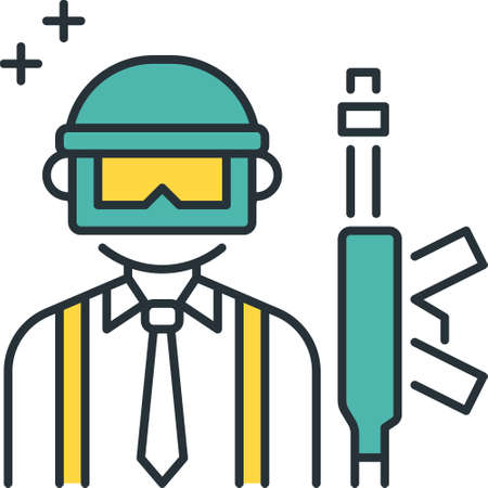 Line vector icon of guy wearing tie, headgear and a weapon Illusztráció