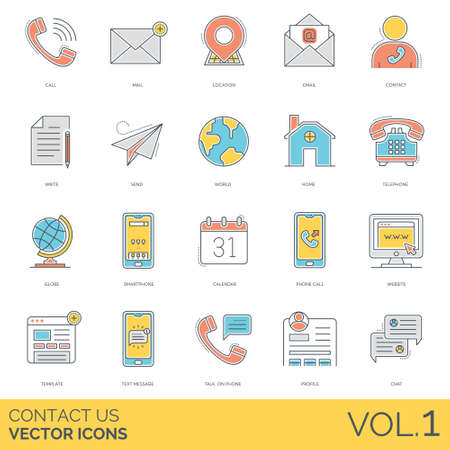 Contact us icons including call, mail, location, email, write,