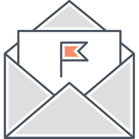 Vector flat icon illustration of opened envelope with flag mail