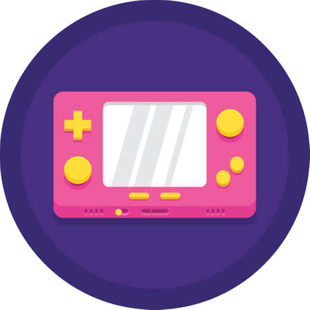 Vector flat icon illustration of handheld game console