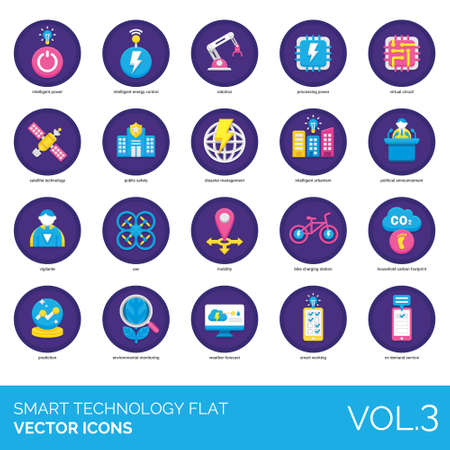 Smart technology icons including intelligent power, energy control, robotics, processing, virtual circuit, satellite, public safety, disaster management, urbanism, political announcement, vigilante, UAV, mobility, bike charging station, household carbon footprint, prediction, environmental monitoring, weather forecast, working, on demand service.