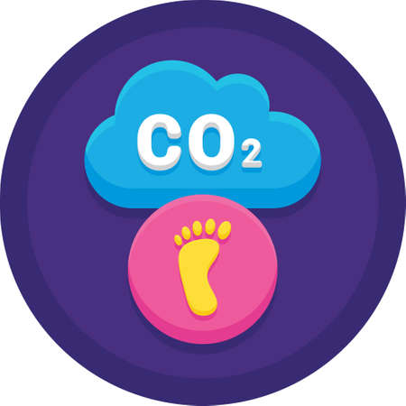 Flat vector icon of CO2 cloud, household carbon footprint illustration