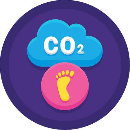 Icône plate vecteur de nuage de CO2, illustration de l'empreinte carbone des ménages