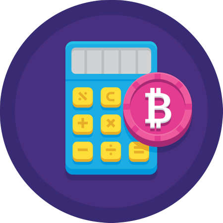 Vector flat icon of bitcoin symbol and calculator illustration