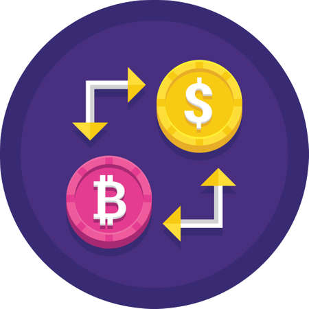 Vector flat icon of bitcoin and dollar currency exchange illustration Ilustracja