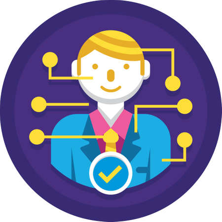 Flat vector icon of candidate qualification illustration