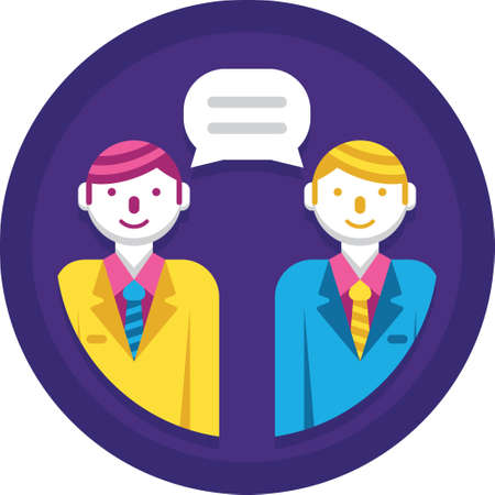 Flat vector icon of two people talking to each other, client meeting concept illustration Stock Illustratie