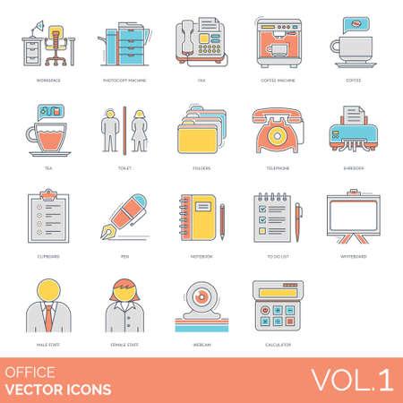 Office icons including workspace, photocopy machine, fax, coffee, tea, toilet, folders, telephone, shredder, clipboard, pen, notebook, to do list, whiteboard, male, female, staff, webcam, calculator.