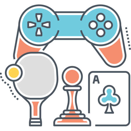 Line vector icon of games room concept with joystick, table tennis, chess, card illustration Ilustrace