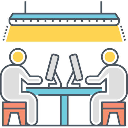 Line vector icon of employees working at open space office concept illustration