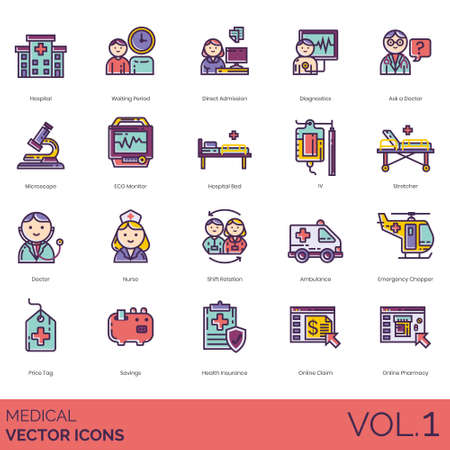 Medical icons including hospital, waiting period, direct admission, diagnostics, ask a doctor, microscope, ECG monitor, bed, IV, stretcher, nurse, shift rotation, ambulance, emergency chopper, price tag, savings, health insurance, online claim, pharmacy. Иллюстрация