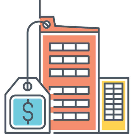 Line vector icon of office for sale with dollar sign illustration
