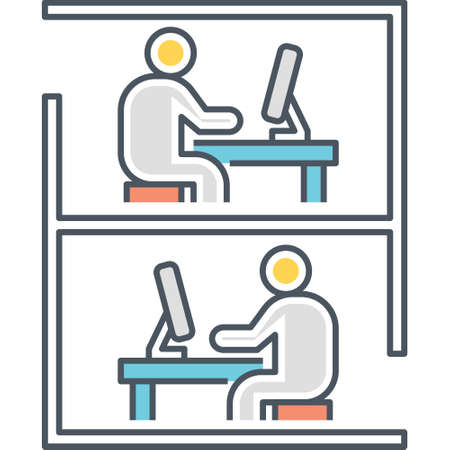 Line vector icon of employees working separated by office cubicle illustration