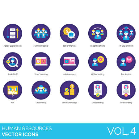Human resources icons including policy deployment, capital, labor market, relations, HR department, audit staff, time tracking, job vacancy, consulting, tax advice, KPI, leadership, minimum wage, onboarding, offboarding.