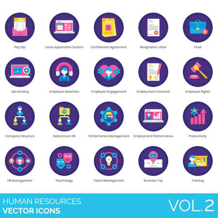 Human resources icons including pay slip, leave application system, confidential agreement, resignation letter, fired, job hunting, employee retention, engagement, employment contract, rights, company structure, data driven HR, performance management, productivity, psychology, talent, business trip, training.