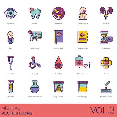 Medische pictogrammen, waaronder optometrie, tandheelkundige, orthopedische, endocrinologie, urologie, baby, kunsttherapie, boek, map, frequentie, krukken, uitgeschakeld, bloeddruppel, donatie, gips, reageerbuis, rondbodemkolf, kakmonster, urine, microscoopglaasje.