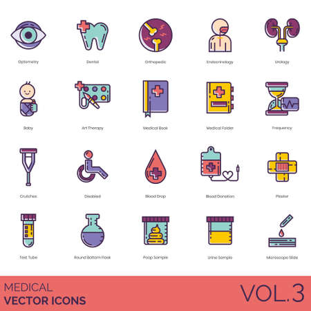 Medical icons including optometry, dental, orthopedic, endocrinology, urology, baby, art therapy, book, folder, frequency, crutches, disabled, blood drop, donation, plaster, test tube, round bottom flask, poop sample, urine, microscope slide.