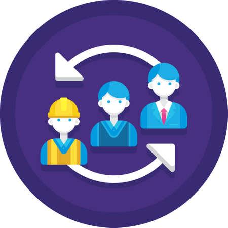 Flat vector icon of employee career advancement illustration