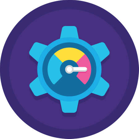 Flat vector icon of performance management meter on gear sign illustration
