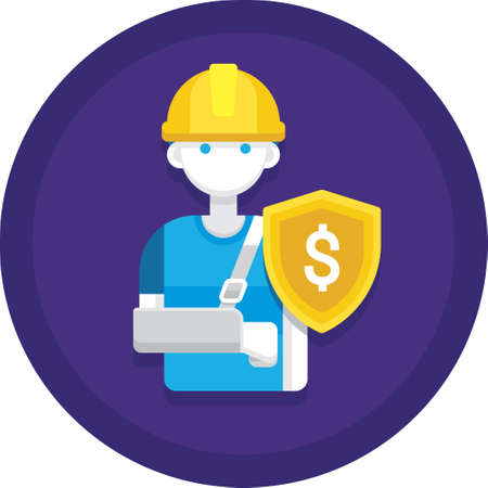 Flat vector icon of man with arm sling and shield sign, accident compensation concept illustration