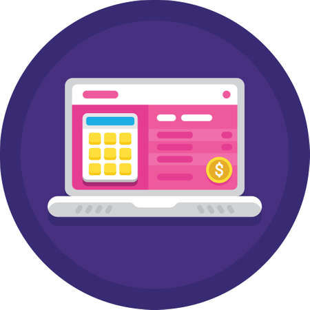 Vector flat icon of calculator and dollar sign on laptop screen, payroll administration concept illustration