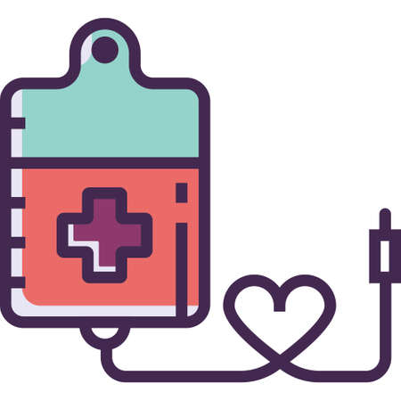 Line vector icon illustration of blood donation bag and heart shape Ilustrace
