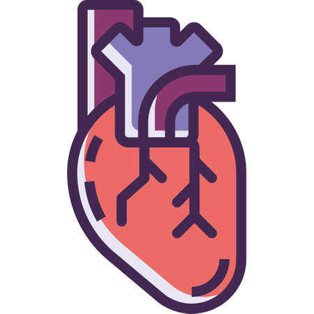 Outline vector icon illustration of heart anatomy Illustration