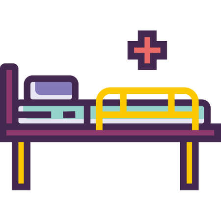Line vector icon illustration of an empty hospital bed