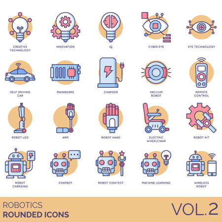 Robotics icons including creative technology, innovation, IQ, cyber eye, self driving car, mainboard, charger, vacuum robot, remote control, leg, arm, hand, electric wheelchair, kit, charging, chatbot, contest, machine learning, wireless.